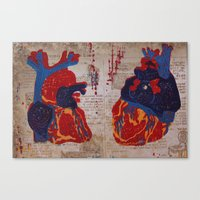 anatomical heart Canvas Prints featuring Anatomical Heart by LatteLover