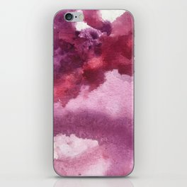 Blushing [5]: a minimal abstract watercolor and ink piece in shades of purple and red iPhone Skin