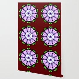 Purple White Flower on Burgundy Wallpaper