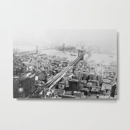 Vintage Brooklyn and Manhattan Bridge Photograph Metal Print