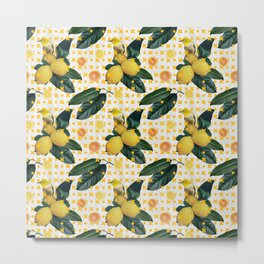 Bird & lemons yellow pattern Metal Print