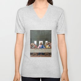 The Last Supper by Leonardo da Vinci Unisex V-Neck