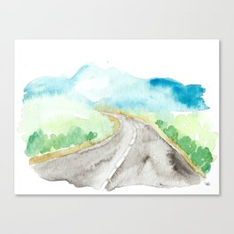 watercolor landscape // road mountains arizona roadtrip southwest highway Canvas Print