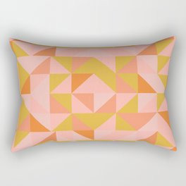 Deconstructed Triangle Pattern in Coral and Peach Rectangular Pillow
