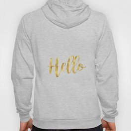 Hello in Golden and White Hoody