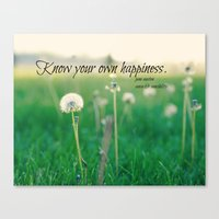 jane austen Canvas Prints featuring Happiness Jane Austen by KimberosePhotography