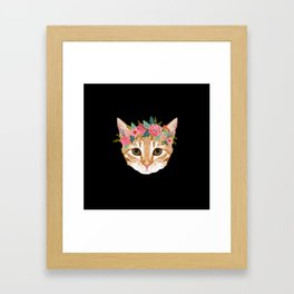 Orange Tabby cat breed with floral crown cute cat gifts cat lady must haves Framed Art Print