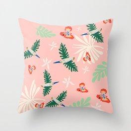 Birds of the Pink Jungle Throw Pillow