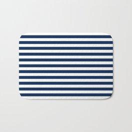 Slate blue and White Thin Stripes - Navy Nautical Pattern Bath Mat
