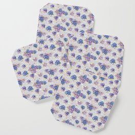 Hydrangeas and French Script with birds on gray background Coaster