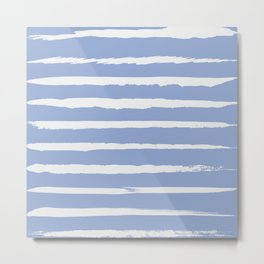 Irregular Hand Painted Stripes Light Blue Metal Print