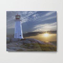 Sunset at Peggys Cove Lighthouse in Nova Scotia Metal Print