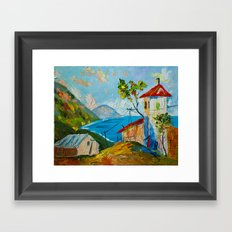 the village by the sea Framed Art Print