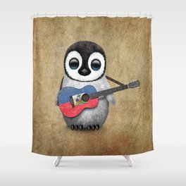 Baby Penguin Playing Haitian Flag Acoustic Guitar Shower Curtain