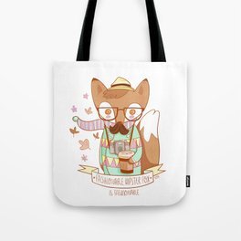 Fashionable Hipster Fox Tote Bag