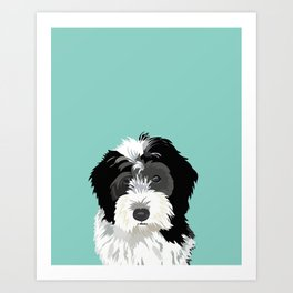 Bernedoodle pet portrait art print and dog gifts Art Print