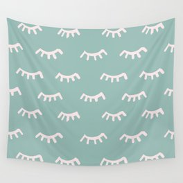 Mint Sleeping Eyes Of Wisdom-Pattern- Mix & Match With Simplicity Of Life Wall Tapestry