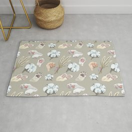 cat toe beans and cotton flowers Rug