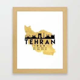 TEHRAN IRAN SILHOUETTE SKYLINE MAP ART Framed Art Print
