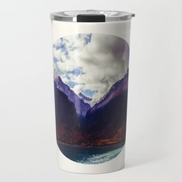 Mid Century Modern Round Photo Purple Parallax Mountains Meets Blue Valley Lake With Autumn Trees Travel Mug