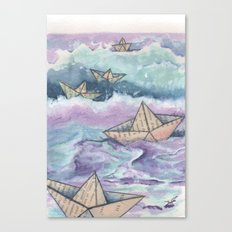 Paper ships and sea Canvas Print