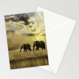african landscape with elephants Stationery Cards