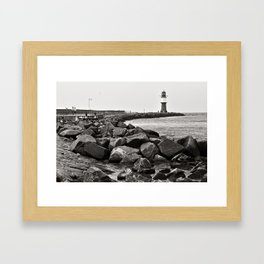 Lighthouse - Warnemuende - Beach - Baltic Sea Framed Art Print