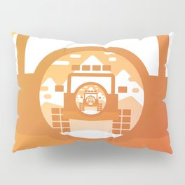 Warm gradient 4x4 vehicle repeating in the tire cover Pillow Sham