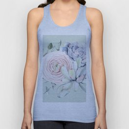 Mint Green + Pink Delight Succulents Unisex Tank Top