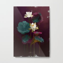Lotus in Violets. Metal Print