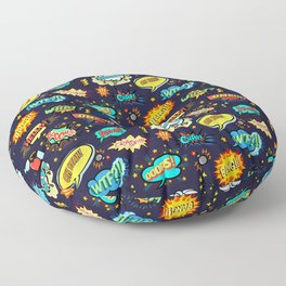 Retro Vintage Comic Book Speech Bubbles Design Floor Pillow
