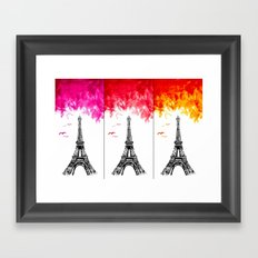 Triple Eiffel Framed Art Print