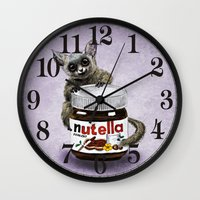 nutella Wall Clocks featuring Sweet aim // galago and nutella by Anna Shell