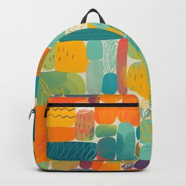 Funny color block abstract shape painting illustration pattern Backpack