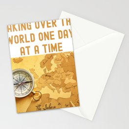 Taking Over The World One Day At A Time World Map Stationery Cards