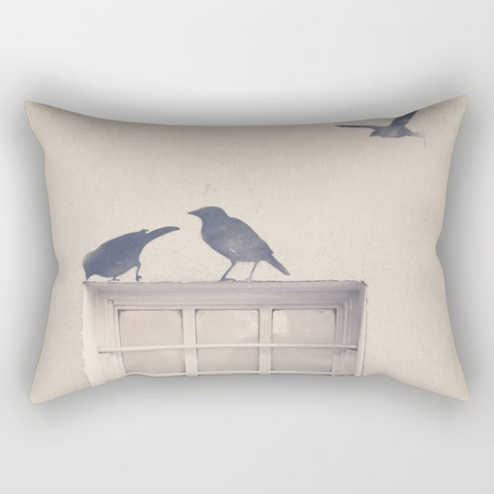 Let me be a bird in your window - vintage retro, beige cream, urban, black and white photography Rectangular Pillow