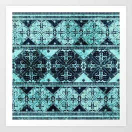nordic tile star in teal Art Print