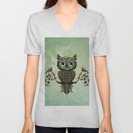 Cute  owl, green diamond Unisex V-Neck