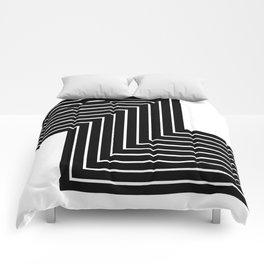 Abstract Black Line Print Comforters