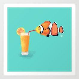 The Clown Fish Drinks Art Print