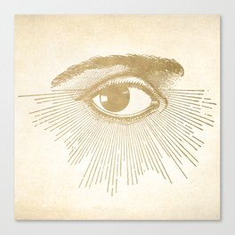 I See You. Vintage Gold Antique Paper Canvas Print