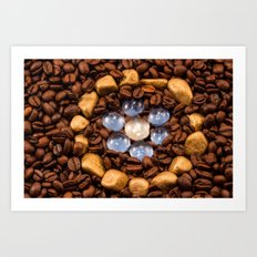 Coffee in the gold circle Art Print