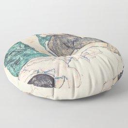 SEATED WOMAN WITH BENT KNEE - EGON SCHIELE Floor Pillow