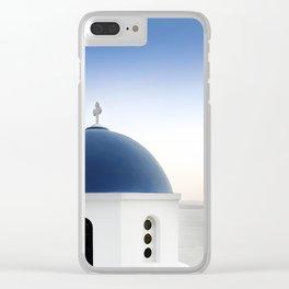 Santorini White and Blue Church View Clear iPhone Case