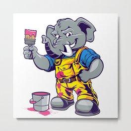 Elephant painter cartoon Metal Print