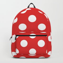 Permanent Geranium Lake - red - White Polka Dots - Pois Pattern Backpack