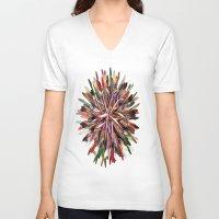 metallic V-neck T-shirts featuring Metallic Snowflake by Brian Raggatt