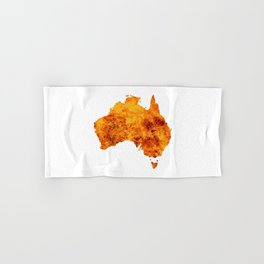 Australia Map With Flames Background Hand & Bath Towel
