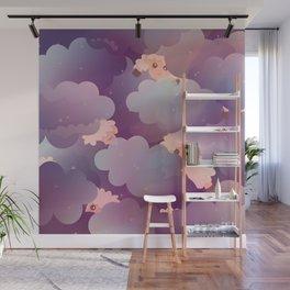 Heavenly Baby Sheep II - Wine Purple / Plum Color, Star Night Sky Background Wall Mural