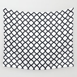 Lattice White on Black Wall Tapestry